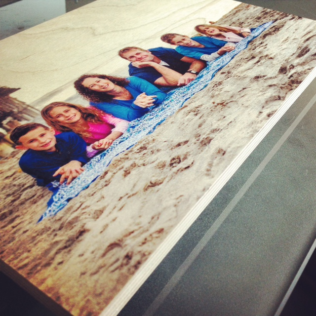 Family photo printed onto maple - from Bay Photo Lab