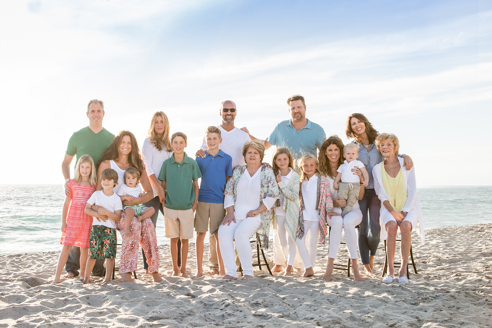 photos on the beach, multiple generations, large group